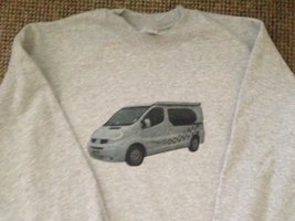 Jon's Campervan on a grey sweatshirt